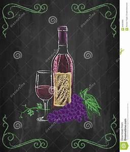 Weinglas Auf Flasche : weinglas und flasche mit trauben und reben auf tafel backgr vektor abbildung illustration von ~ Watch28wear.com Haus und Dekorationen