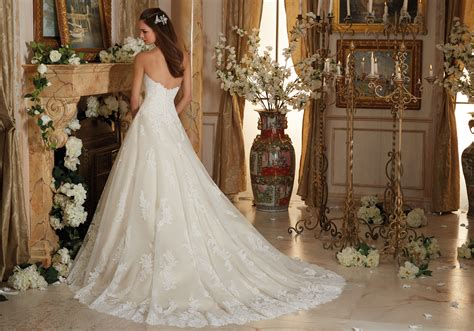 Embroidered Lace On Tulle Ball Gown Wedding Dress