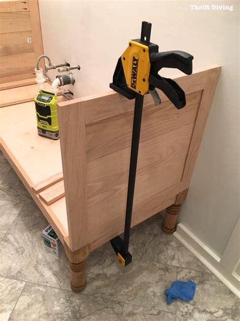 build    diy bathroom vanity part  attaching
