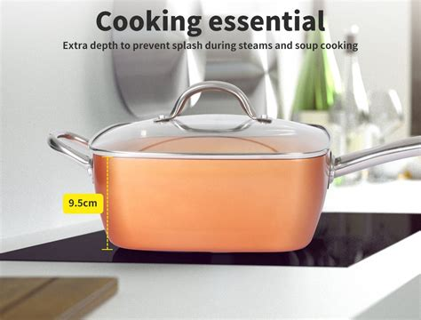 ceramic copper  stick induction deep frying pan dishwasher safe fry cookware buy frying