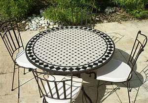 Tables Rondes De Jardin : table jardin mosaique ronde 110cm c ramique blanche ~ Premium-room.com Idées de Décoration