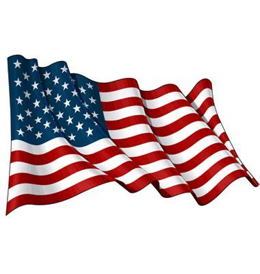 Illustration of a waving American flag against white ...