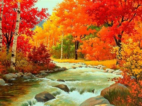 Autumn Waterfalls Painting Pictures, Photos, And Images