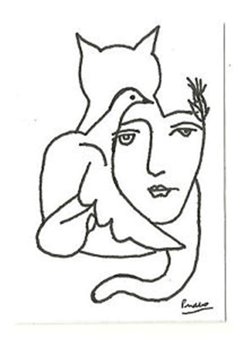 Artist Pierre Molangi Signed Woman Cat Bird Picasso Print