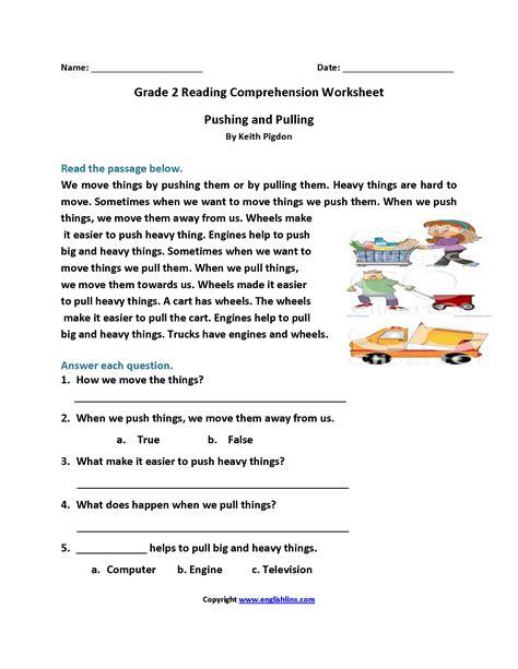 pushing  pulling  grade reading worksheets