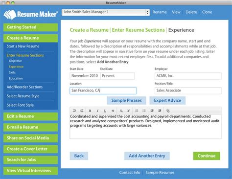 Easy Resume Maker by Home Resumemaker For Mac