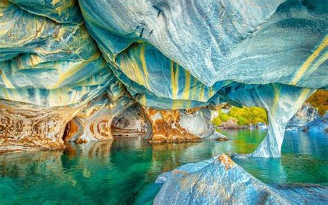 nature landscape lake cave chile colorful water