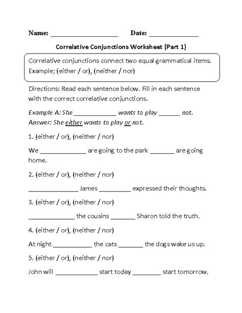 conjunctions worksheets correlative conjunctions fill in
