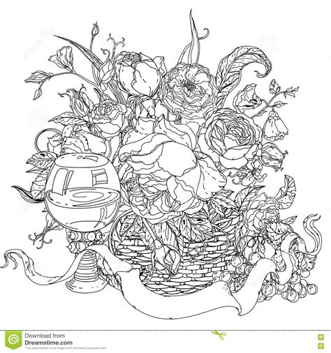 disegni da colorare rilassanti still coloring book antistress style picture stock