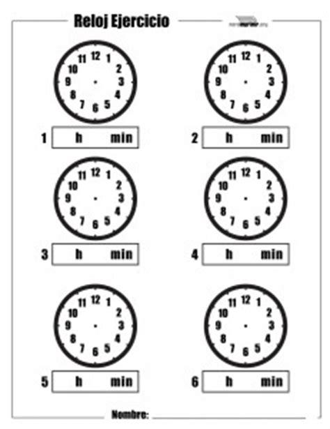 ejercicio de reloj para imprimir