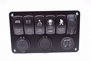 China 6 Gang Rocker Switch Panel With Dual Usb Charger