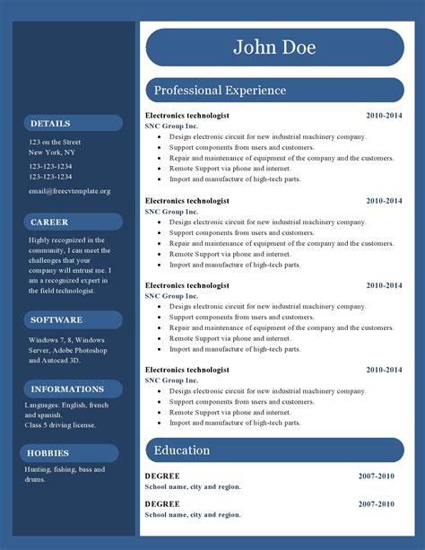 curicculum vitae free cv resume templates 417 to 422 free cv template