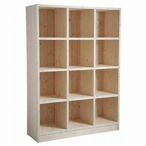 étagère Bois Brut : etag re 12 cases en bois brut boisnature 39 l ~ Melissatoandfro.com Idées de Décoration