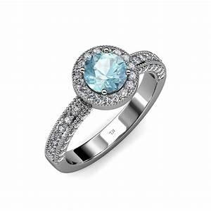 Aquamarine diamond milgrain work halo engagement ring 1 for Work wedding rings