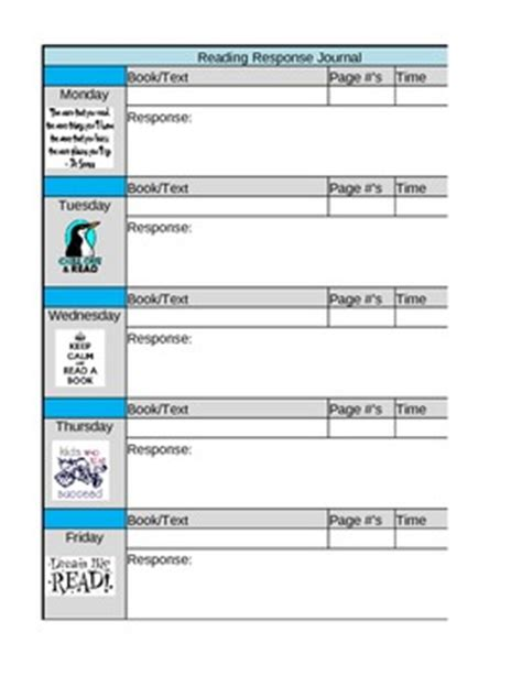reading journal template daily reading response journal template by pryor tpt