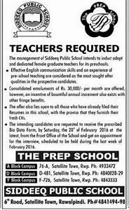 Teachers Required Siddeeq Public School 2016