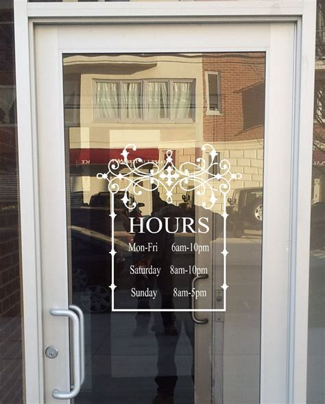 And Decor Store Hours by Store Front Sign With Your Hours Vinyl Decal Store Sign
