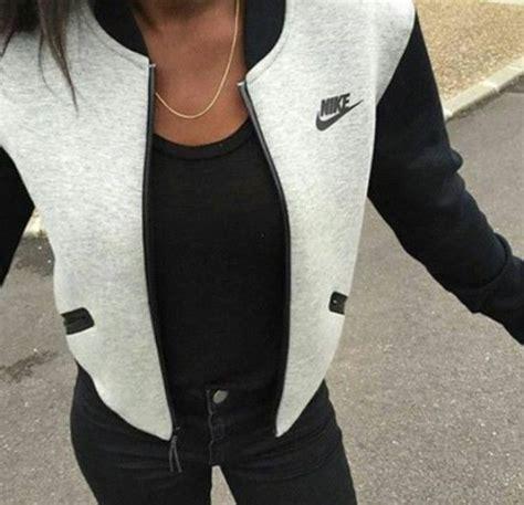 Nike grey jacket baseball jacket nike sportswear casual trendy jacket grey blacku2026 | Clothing ...