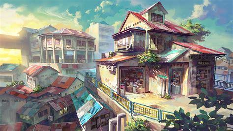 anime store full hd wallpaper  background image