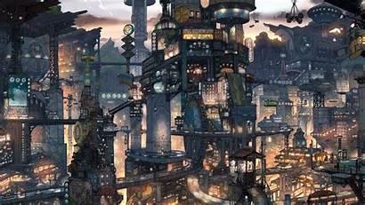 Futuristic Anime Cityscapes Cyberpunk Fantasy Future Steampunk