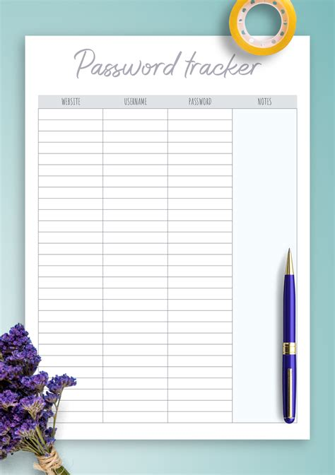 printable password tracker template  notes