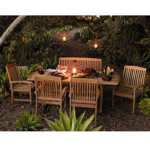 Outdoor Patio Extendable Teak Wood Dining Set 6 Pc Table Bench Chair Furniture Ebay