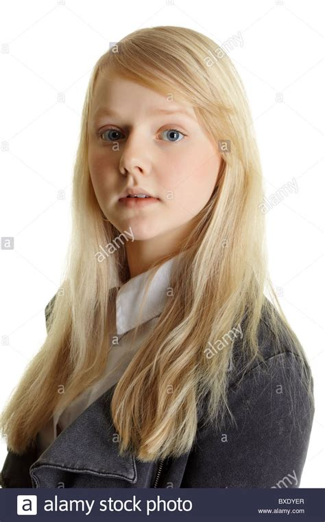 Portrait Of A Young Beautiful Girl With Blonde Hair Stock