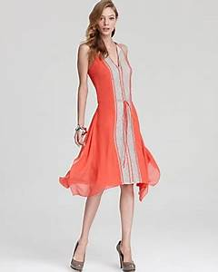 BCBGMAXAZRIA Dress Color Block Asymmetric Hem