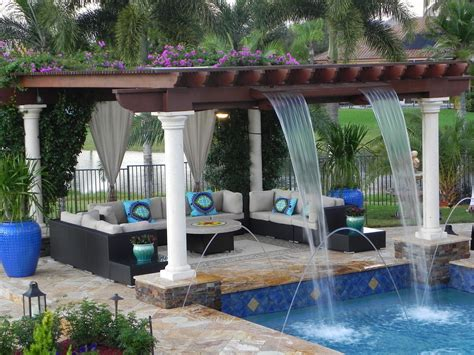 Luxurious Custom Pool With Trellis With Waterfall Features