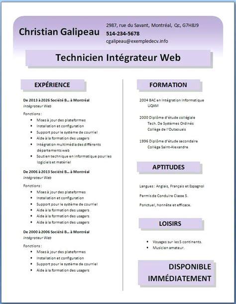 Format Cv Gratuit by Format De Cv Gratuit Format Exemples De Cv A Telecharger