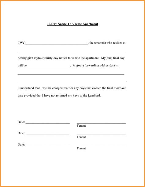 60 Day Notice Apartment Template by 60 Day Notice To Vacate Letter Format Mail