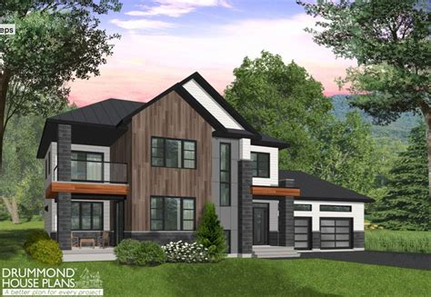 modern 2 house plans w3882 modern cottage with 3 covered terraces large