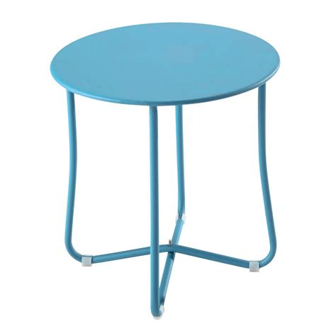 Metal Garden Side Table In Turquoise Blue D 45cm Capsule