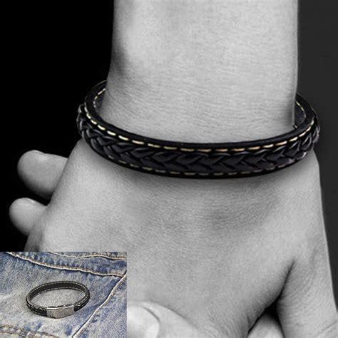 bracelet cuir tresse homme noir pas cher
