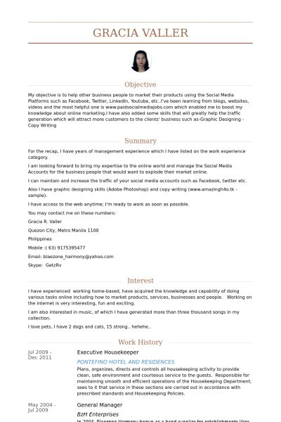Hotel Housekeeping Experience Resume by Housekeeper Resume Sles Visualcv Resume Sles Database