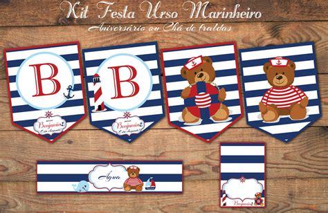 urso marinheiro kit festa digital luxo bolle it 225 lia elo7