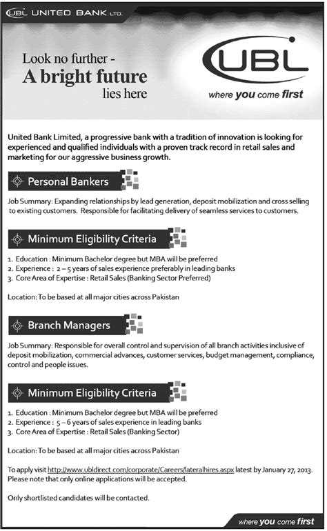 ubl bank jobs  pakistan