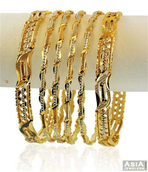 22k rhodium bangle set 6 pc ajba58332 modern design 22k gold bangle set with rhodium