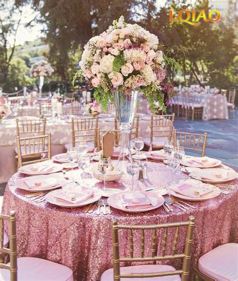 sequin tablecloth  wedding party pink