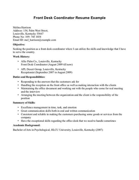 Front Desk Resume Sle by 7 Best Resume Images On Front Desk Sle