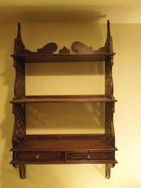 vintage dark wood gothic style victorian style wall shelf  drawers ebay