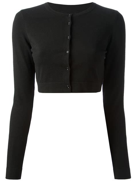 cropped black sweater alaïa cropped cardigan in black lyst