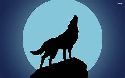Howling Silhouette Wolf Moon Drawing Werewolf Wolves