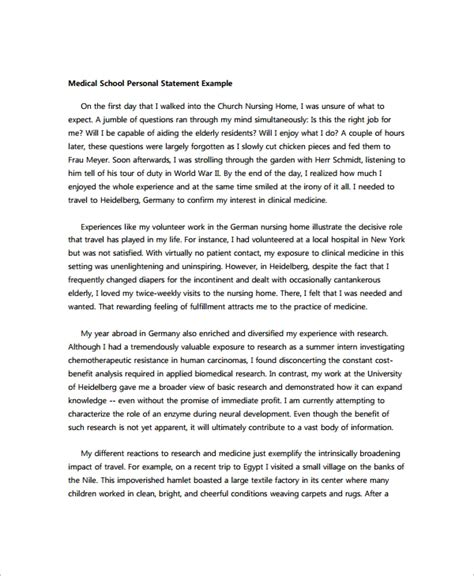 medical personal statement layout