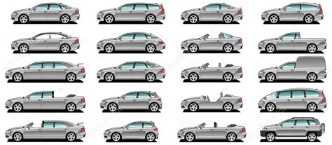 Silhouettes Different Body Car Types Stock Vector