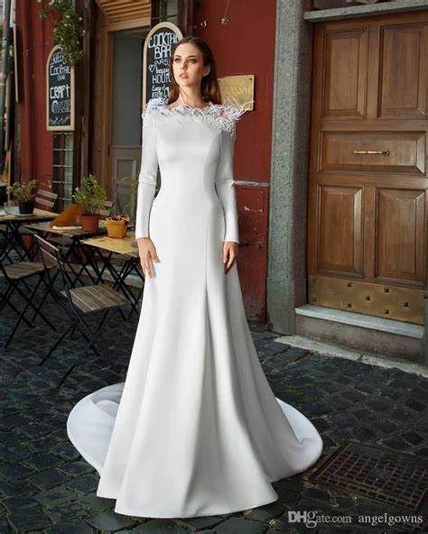 elegant feather mermaid wedding dresses long sleeve
