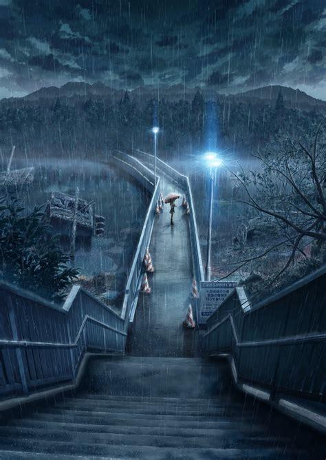 anime night heavy rain rain umbrella bridge water