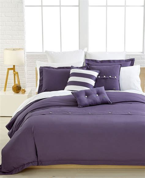33032 lacoste bed set lacoste bedding solid purple brushed twill comforter and