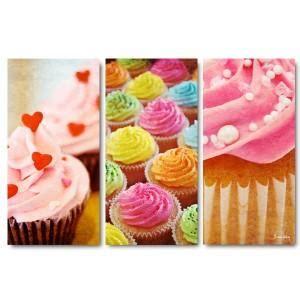 triptyque cuisine tableau triptyque déco de cuisine quot cupcakes quot 60x90