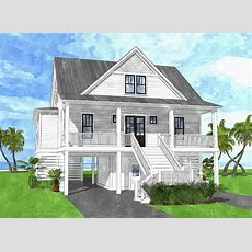 Coastal House Plan With Upper Level Bunk Room  15218nc